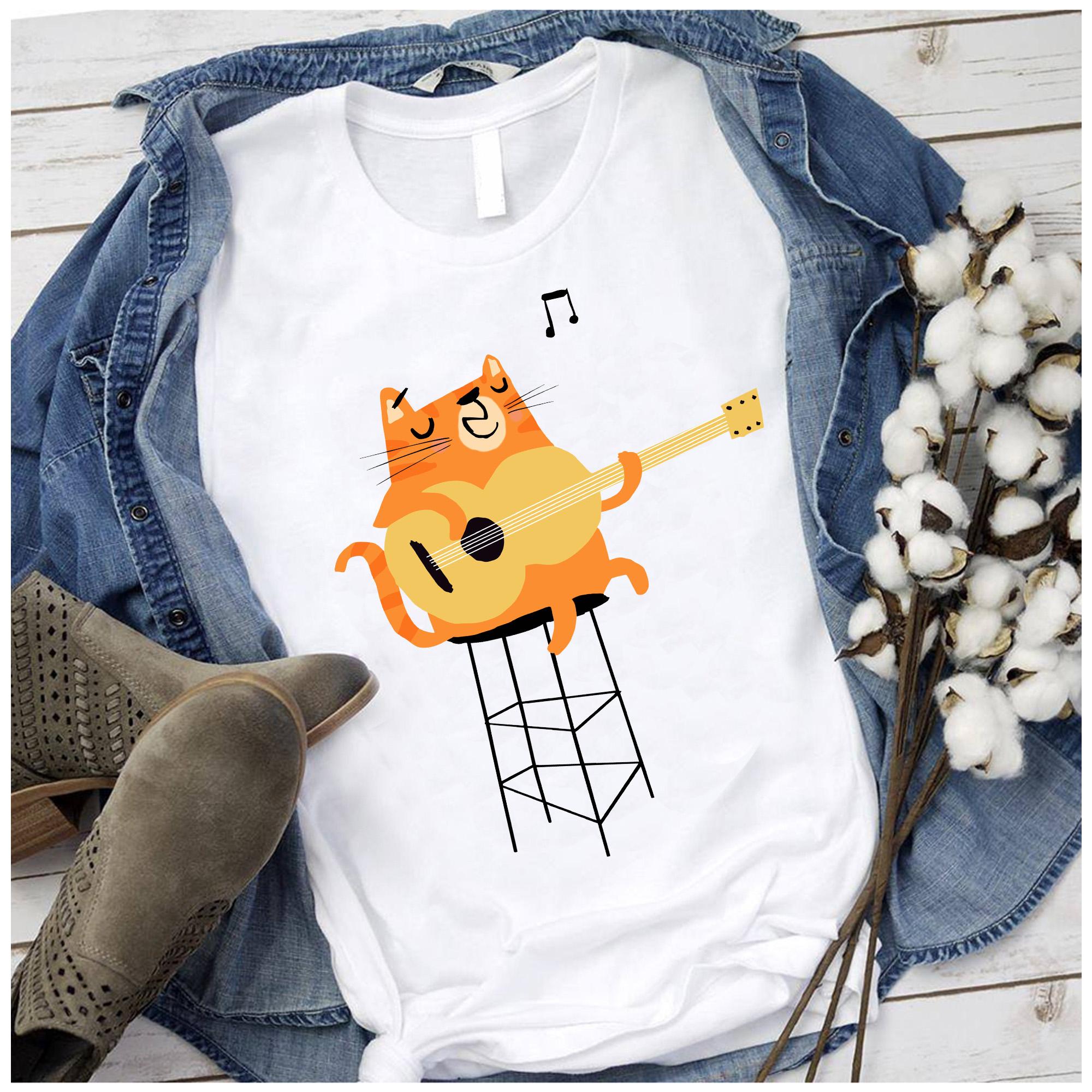 Cat Playing Guitar Shirt