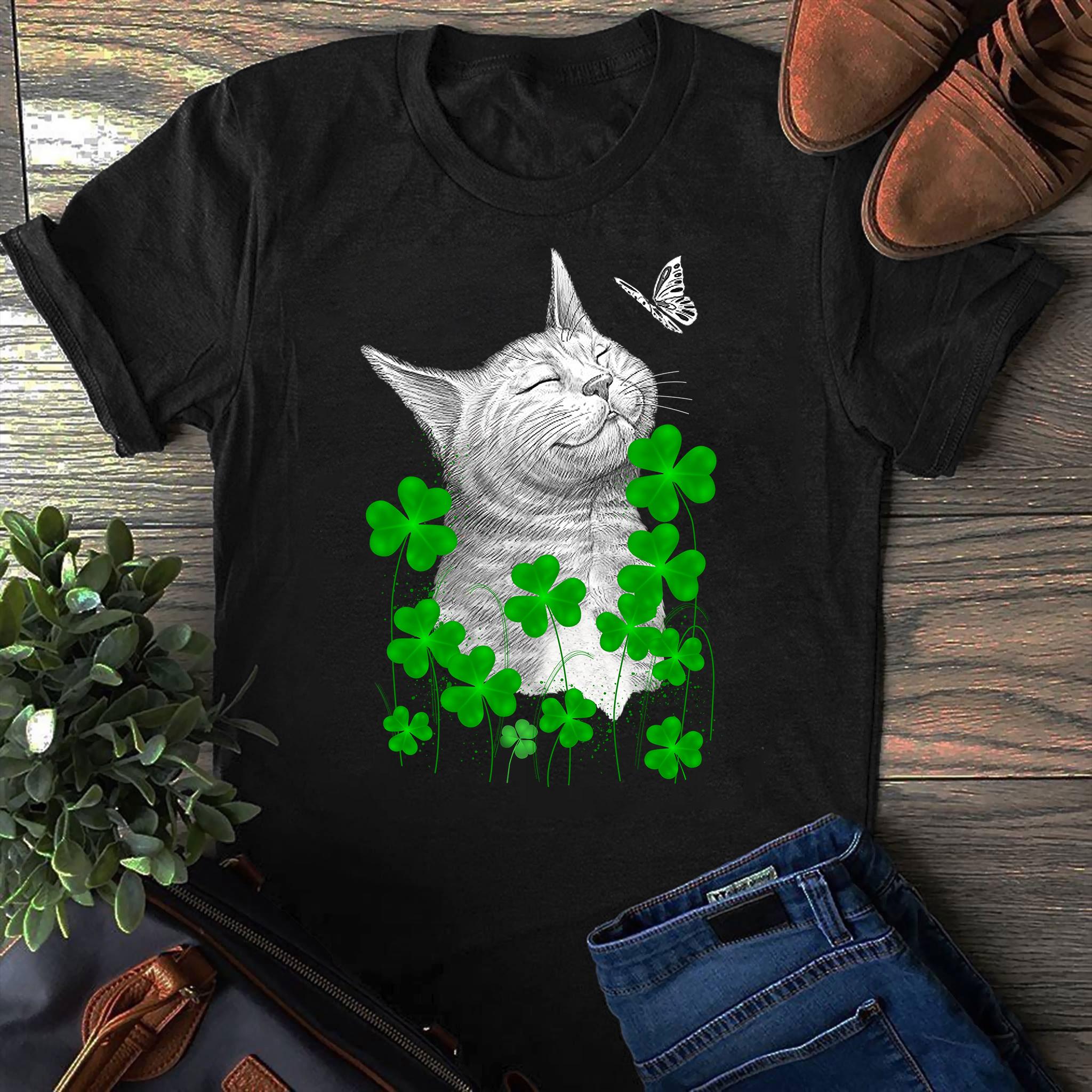 Cat Shamrock Butterfly Shirt St Patrick's Day