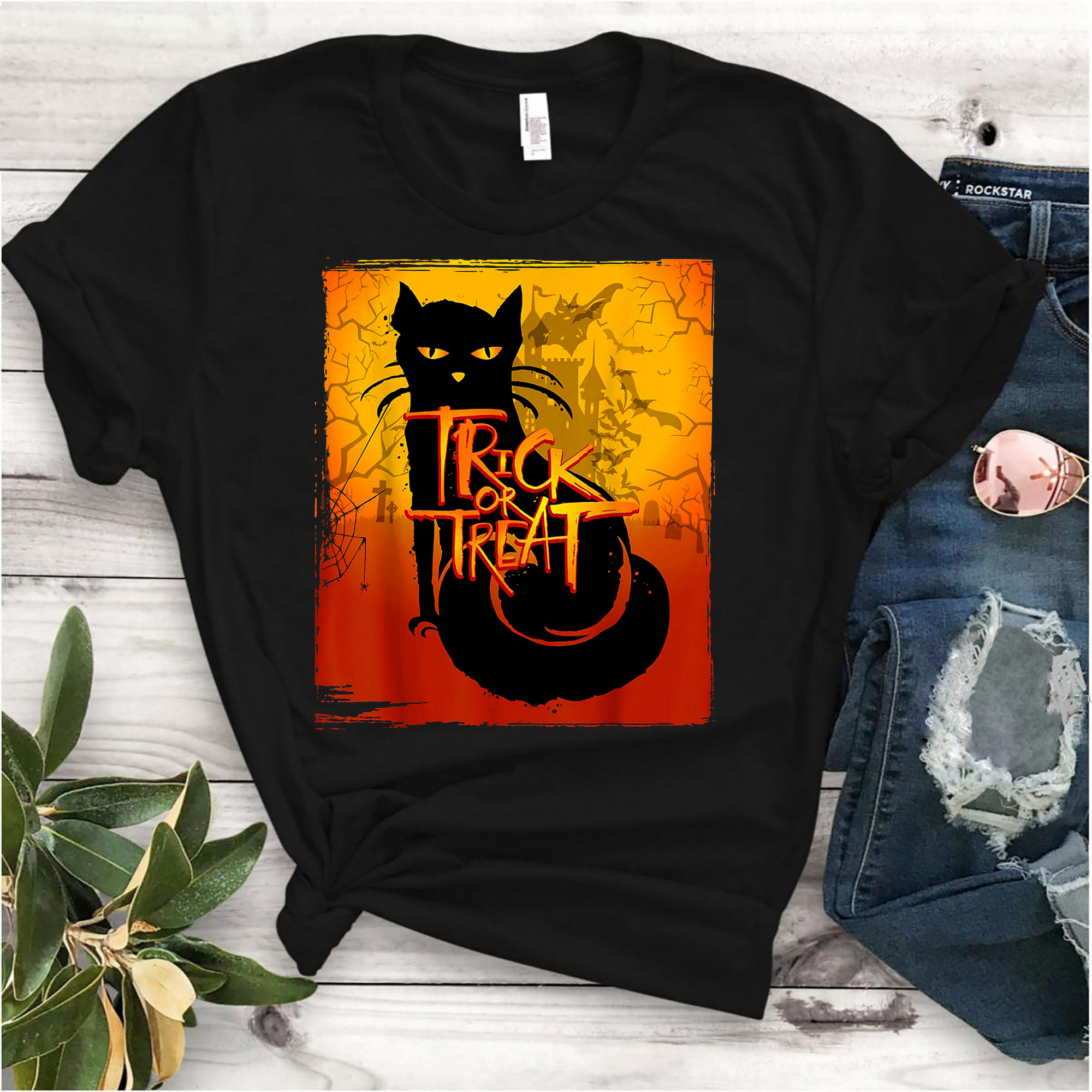 Cat Trick Or Treat Shirt Halloween Gift