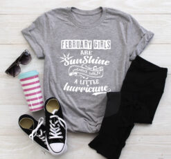 February Girls Are Sunshine Mixed Little Hurricane Shirt