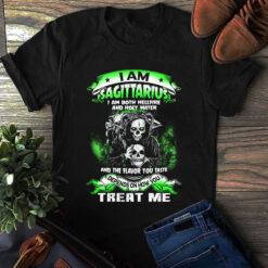Skull I Am Sagittarius Both Hellfire And Holy Water Shirt