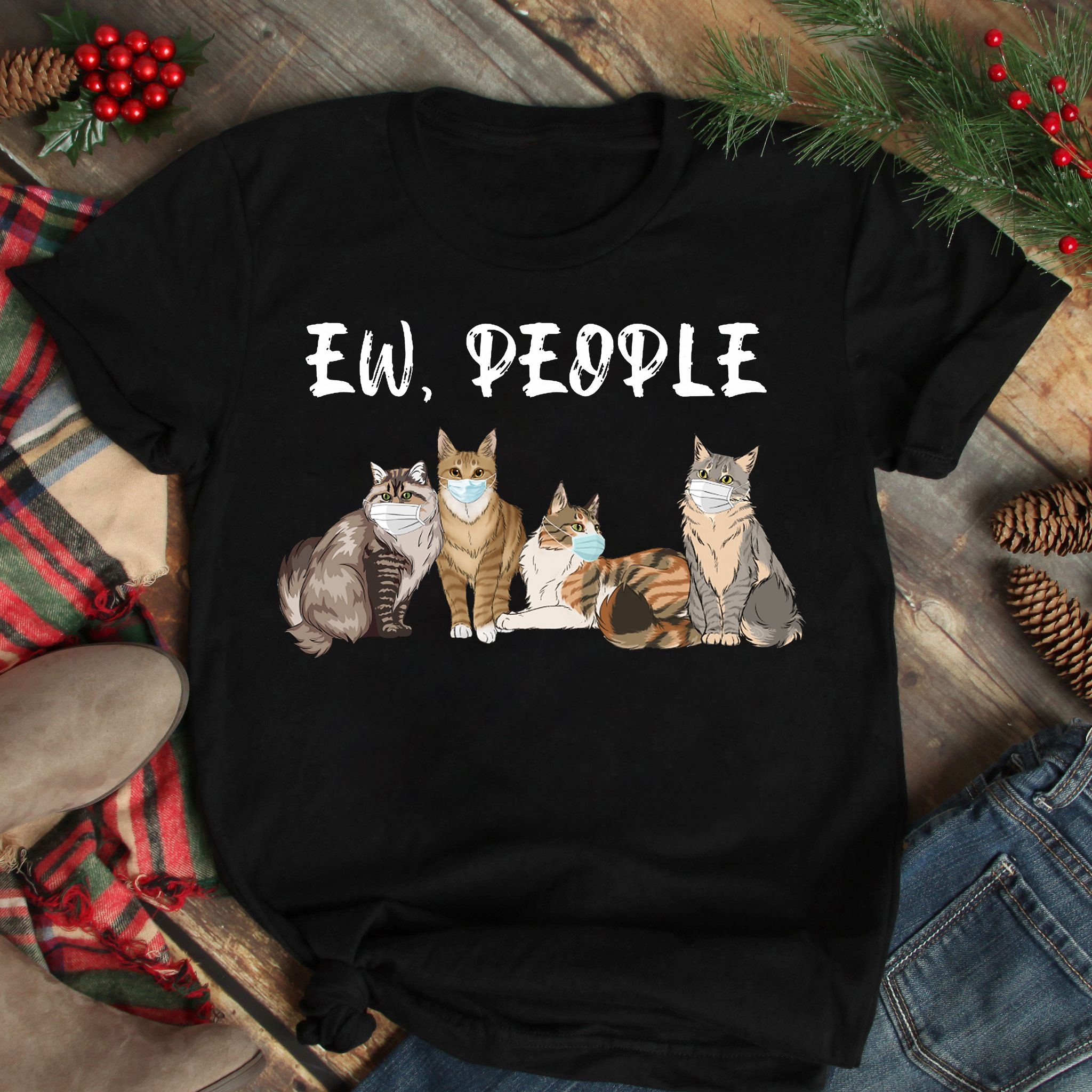 Funny Cats Mask Ew People Shirt