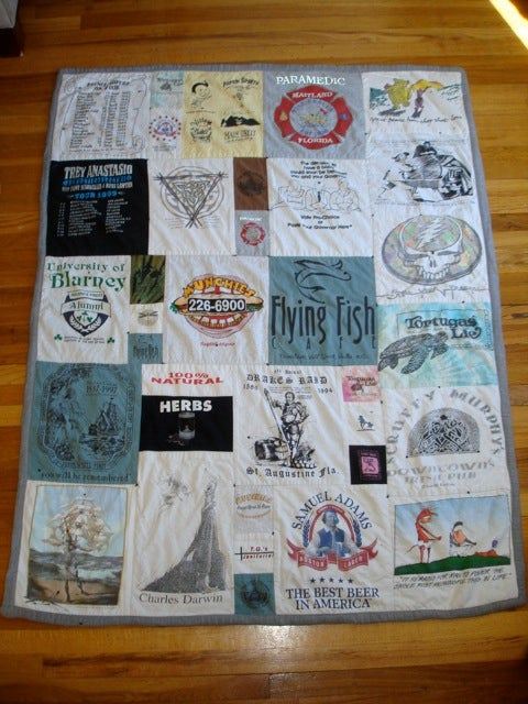 Finished t shirt quilt diy