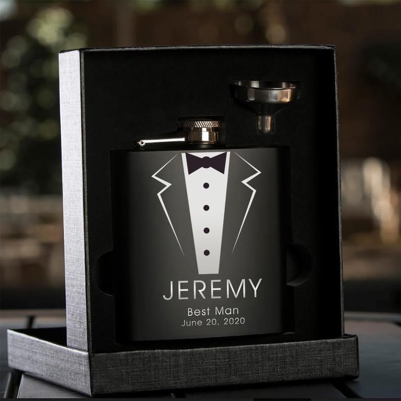 Personalized-Black-Hip-Flask-With-Funnel-best-man-gift