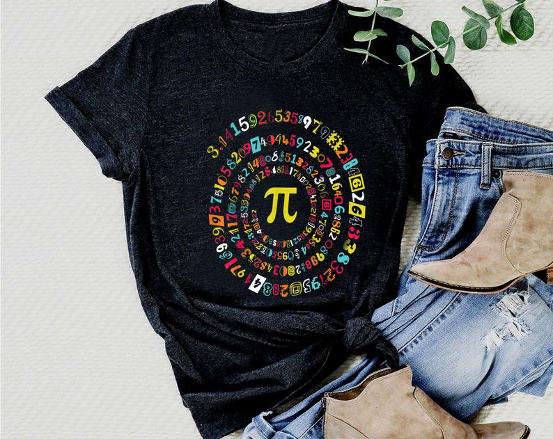Pi Day Shirt Funny Spiral Pi Math