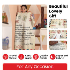 Air Mail To My Daughter Love Your Mom Fleece Blanket 4