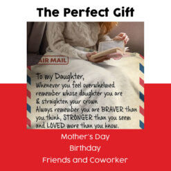 Air Mail To My Daughter Love Your Mom Fleece Blanket