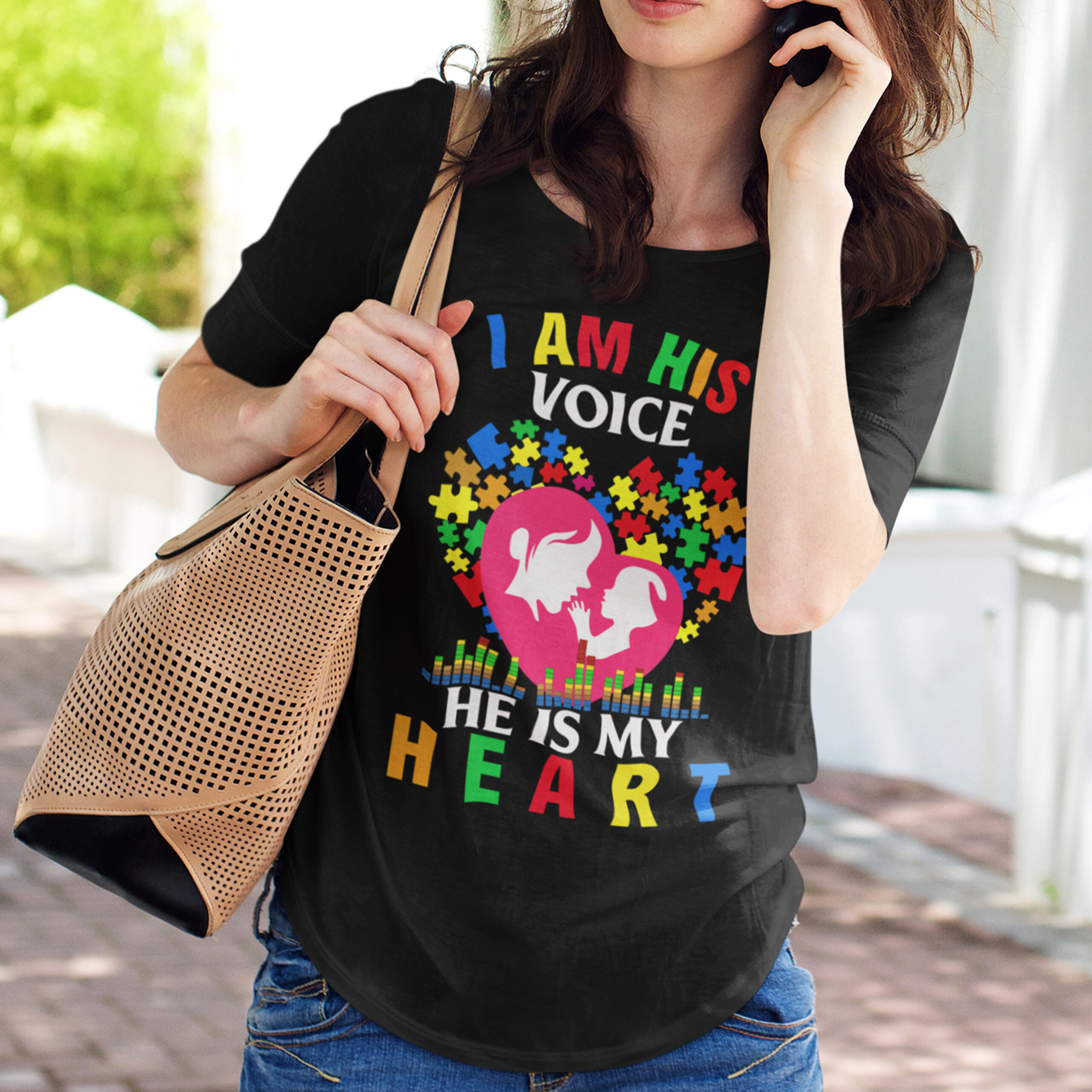 Autism I'm His Voice He's In My Heart Shirt
