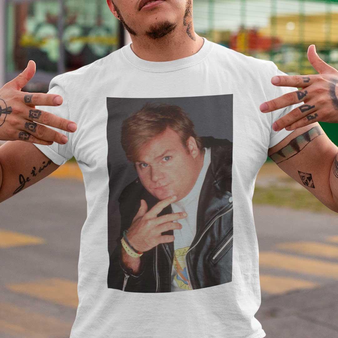 Kid Cudi T Shirt SNL Wearing Chris Farley T Shirt