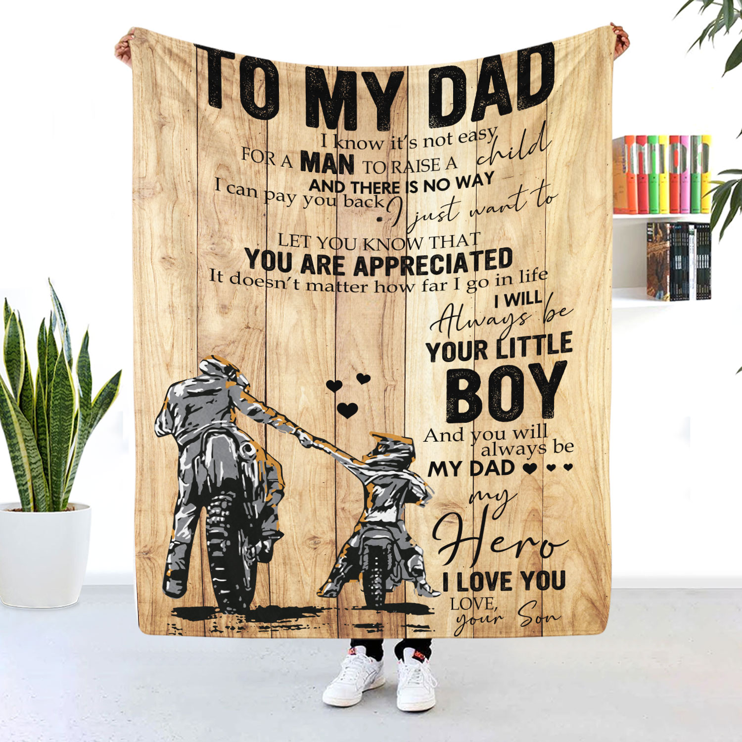 To My Dad Motorcycle Blanket I'll Always Be Your Little Boy