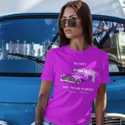 Truck Flower In May We Wear Purple Fibromyalgia Awareness Shirt