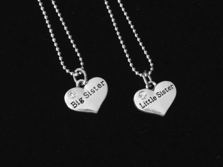 gift for sister Heart necklace set
