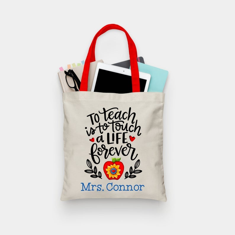 Customized Tote Bag- nice holiday gifts for teacher.