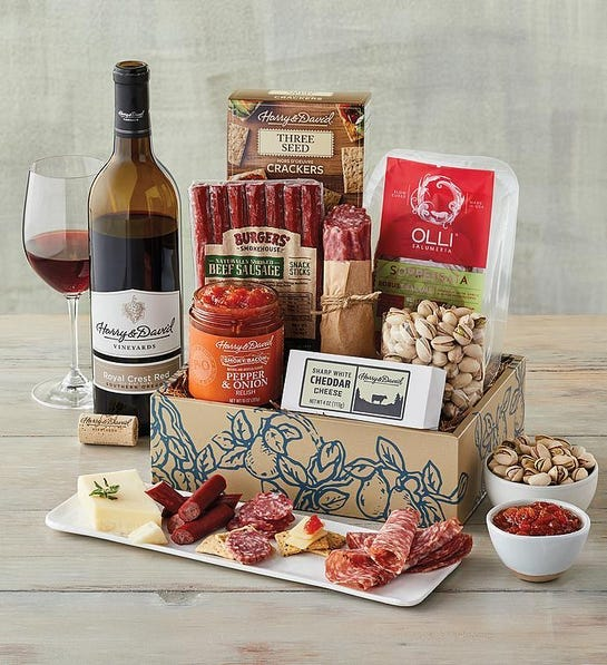 Gift Basket with Wine-last-minute Father's Day gifts