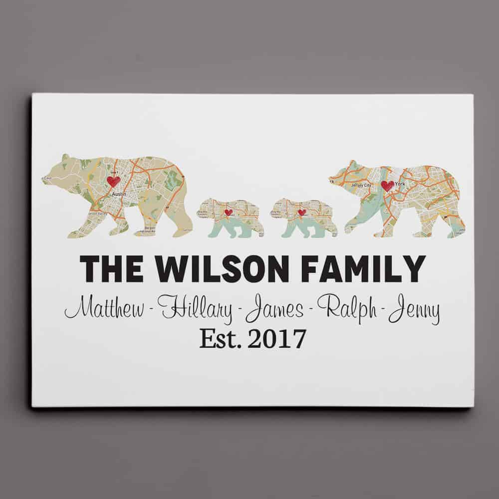 Personalized Bear Family Map Canvas Print