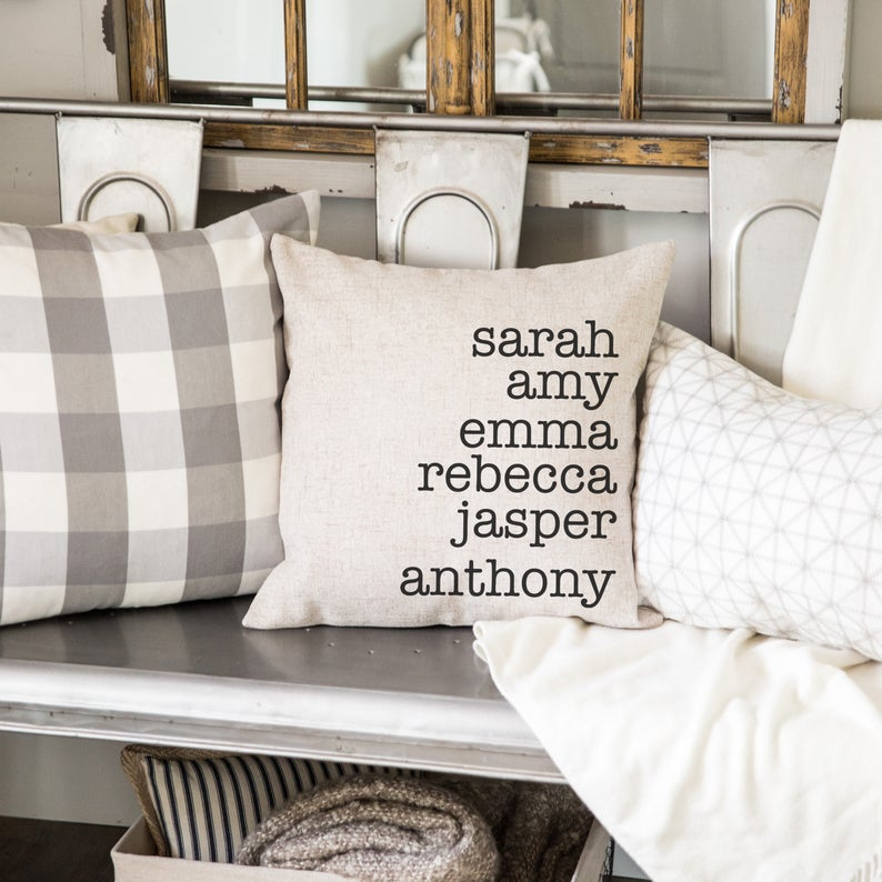 Personalized Family Name Throw Pillow Case- great holiday gifts for teacher