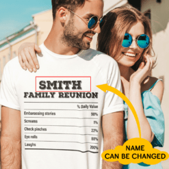 Personalized Family Reunion Tshirt Nutrition Facts
