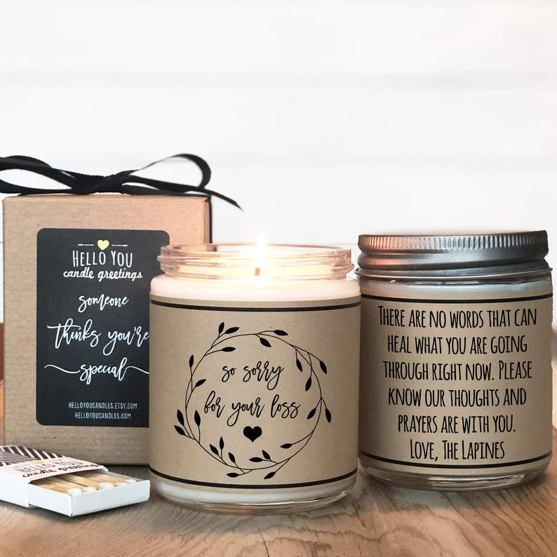 So Sorry For Your Loss Personalized Candle Gift