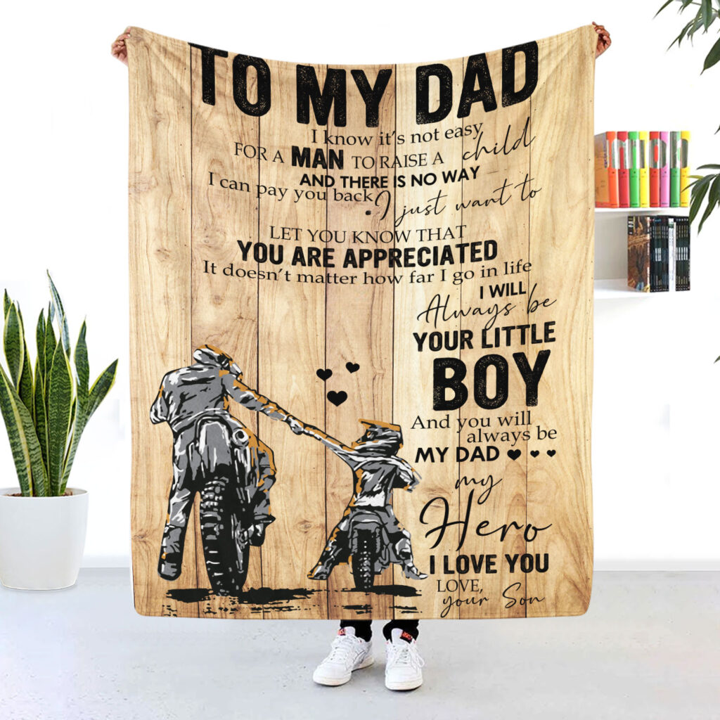 To My Dad Motorcycle Blanket Ill Always Be Your Little Boy