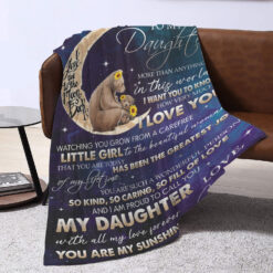To My Daughter I Love You To The Moon And Back Bear Blanket