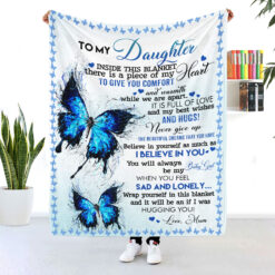To My Daughter Mom And Daughter Butterfly Blanket