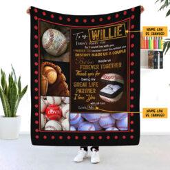To My Husband Baseball Personalized Blanket