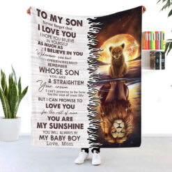 To My Son Never Forget I Love You Lion Fleece Blanket