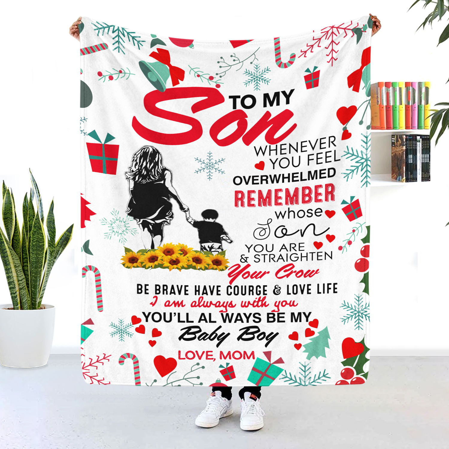 To My Son You'll Always Be My Baby Boy Christmas Blanket