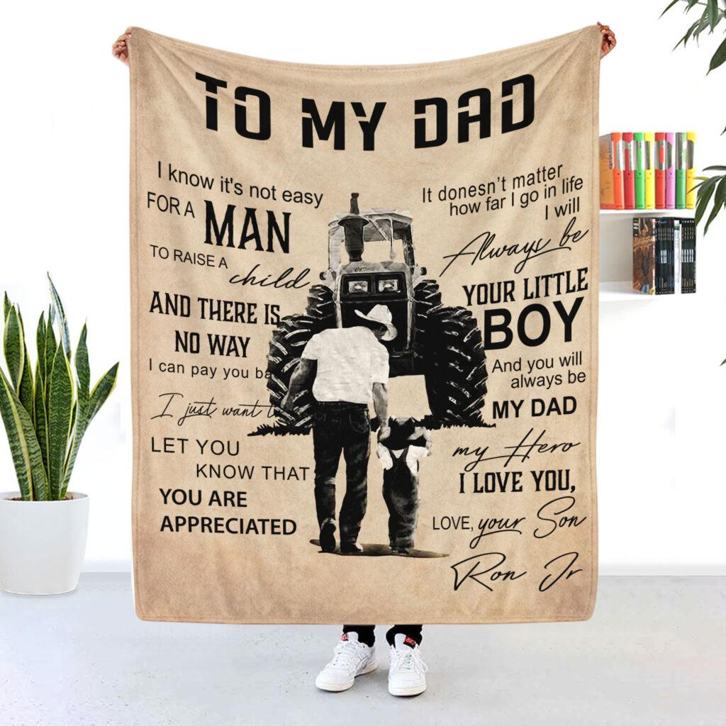 Trucker Dad Personalized Blanket Always Be Your Little Boy 2