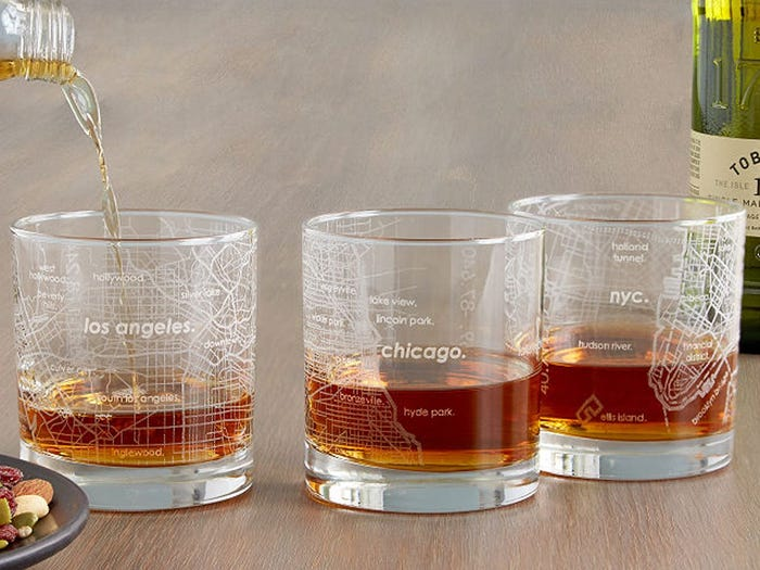 Urban map glass practical fathers day gifts