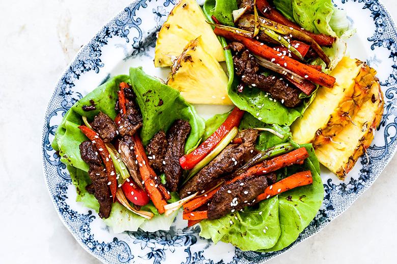 Korean Pineapple Beef Lettuce Wraps