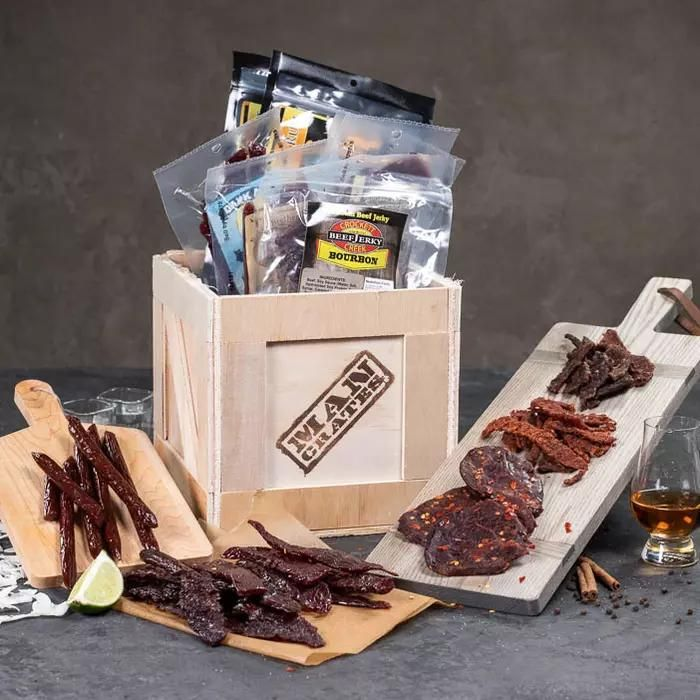 what are gift ideas for dad booze infused jerky crate
