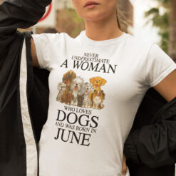 A Woman Who Loves Dogs And Was Born In June Shirt