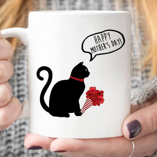 Black Cat Mug Cat Flower Happy Mother's Day- best cat mom gifts