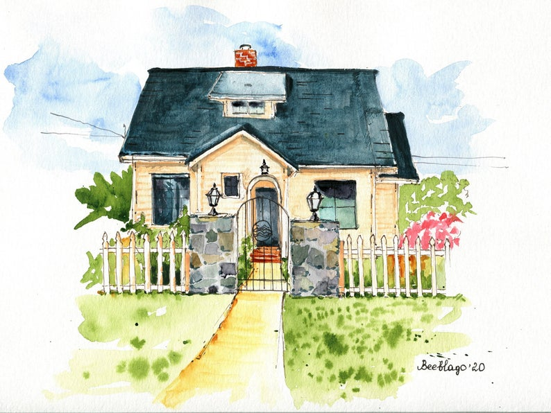 Custom Watercolor House Portrait- best birthday gifts for parents