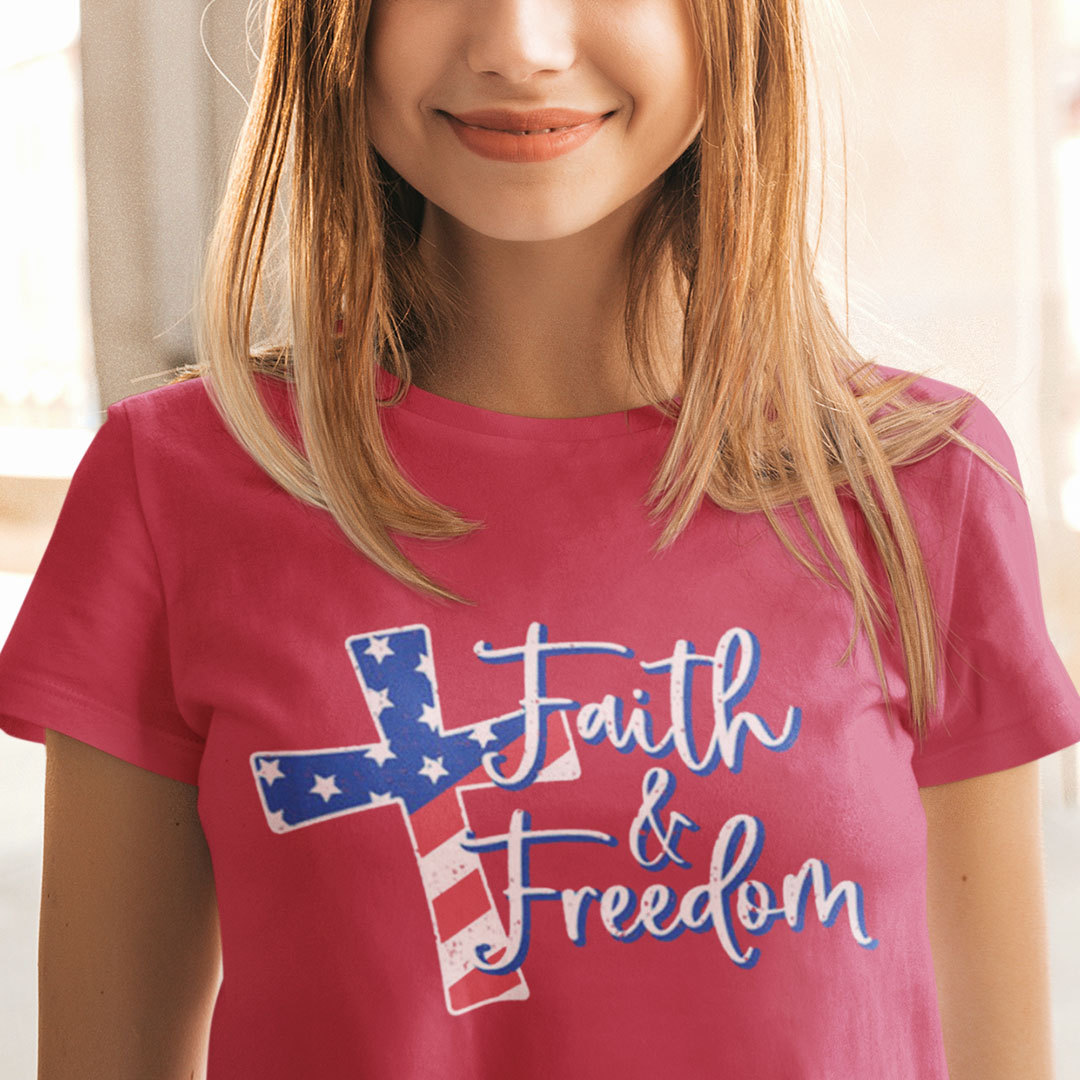 Faith And Freedom Jesus Cross 4th Of July Shirt