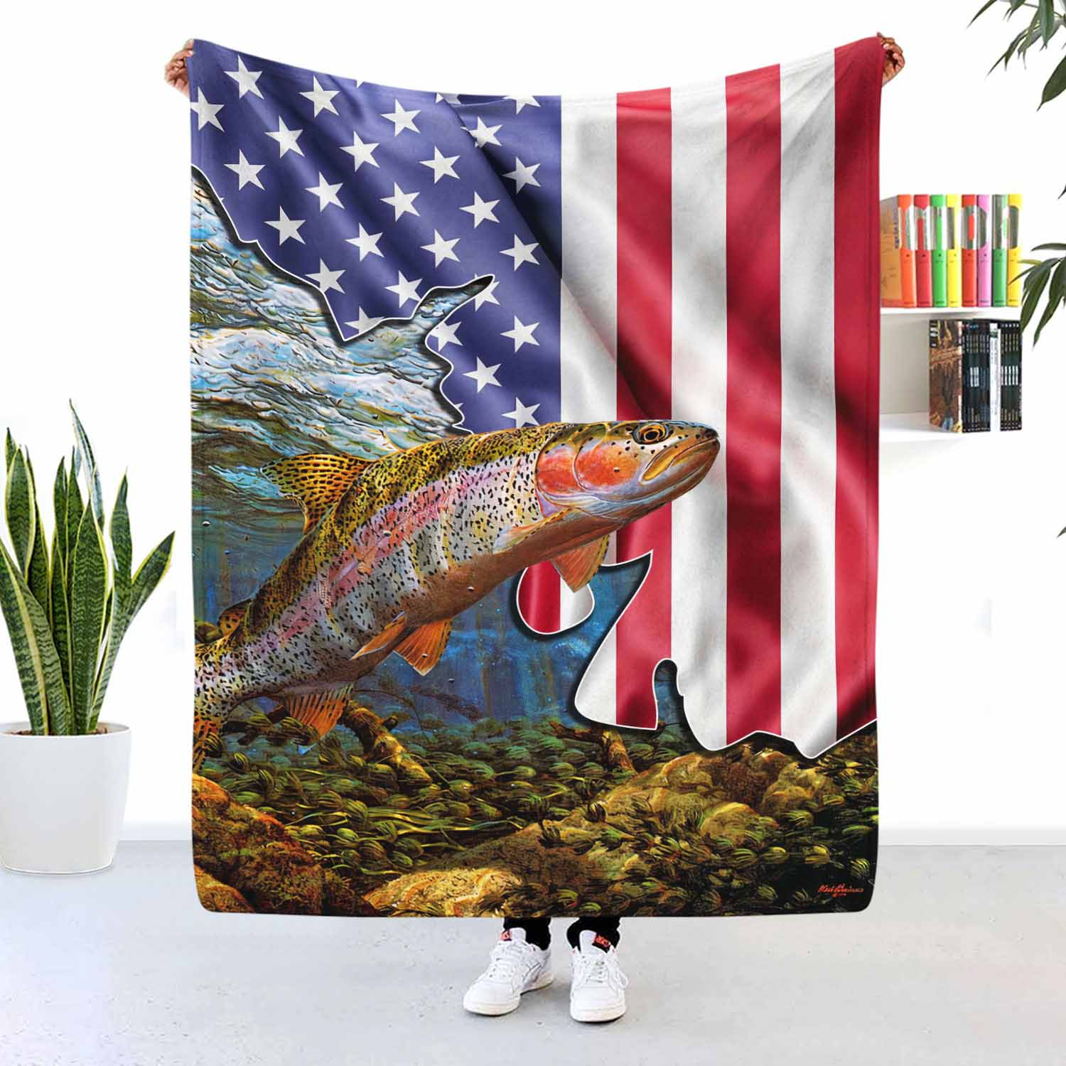 Fish 4th Of July American Flag Blanket