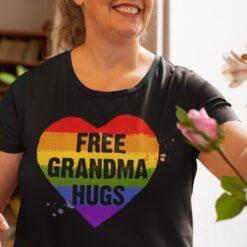 Free Grandma Hugs LGBT Heart Shirt