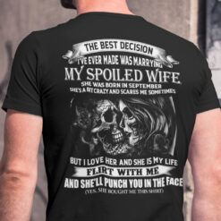 My Spoiled Wife Shirt She Was Born In September Skull Couple