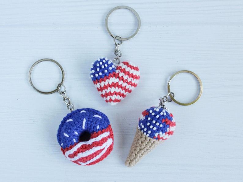 Patriotic decor keychains-best Independence Day gift under 25$