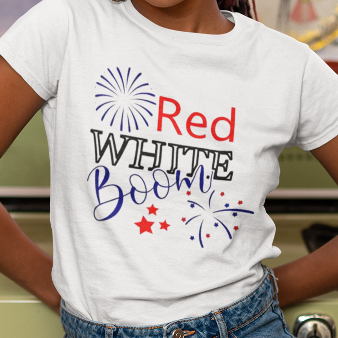 Red White Boom Fireworks 4th Of July Shirt