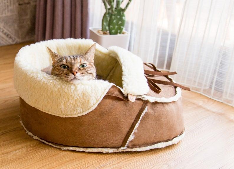 Sherpa Moccasin Cat Bed - Unique Modern Cat Furniture- best cat mom gifts