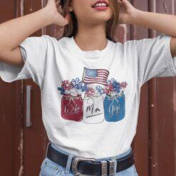 Wife Mom Gigi Patriotic Shirt Flower American Flag