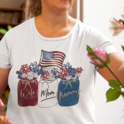 Wife Mom Grammy 4th Of July Shirt Flower American Flag