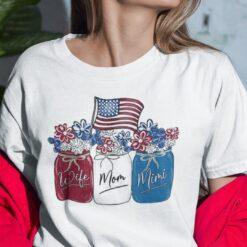 Wife Mom Mimi 4th Of July Shirt Flower American Flag