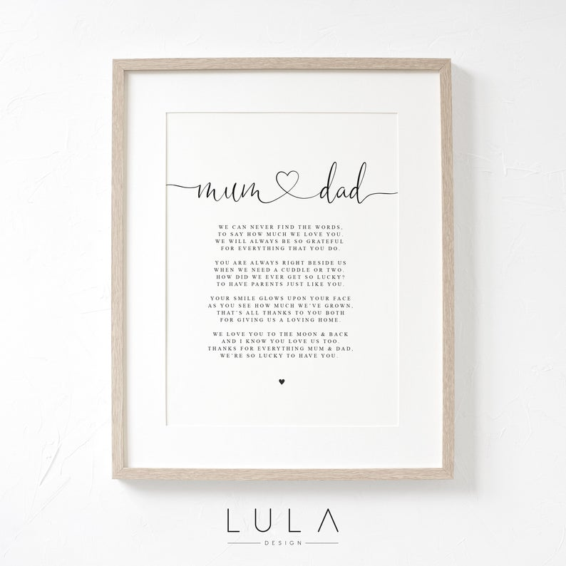 Mum and Dad Poem Print - valentine's day gift ideas for parents