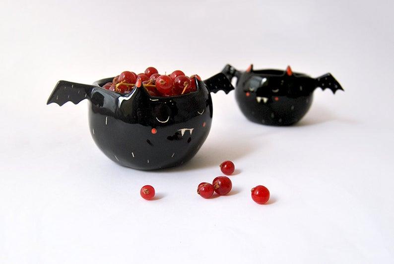 Halloween Special Ceramic Black Vampire Bowl- best Halloween gift for dad.