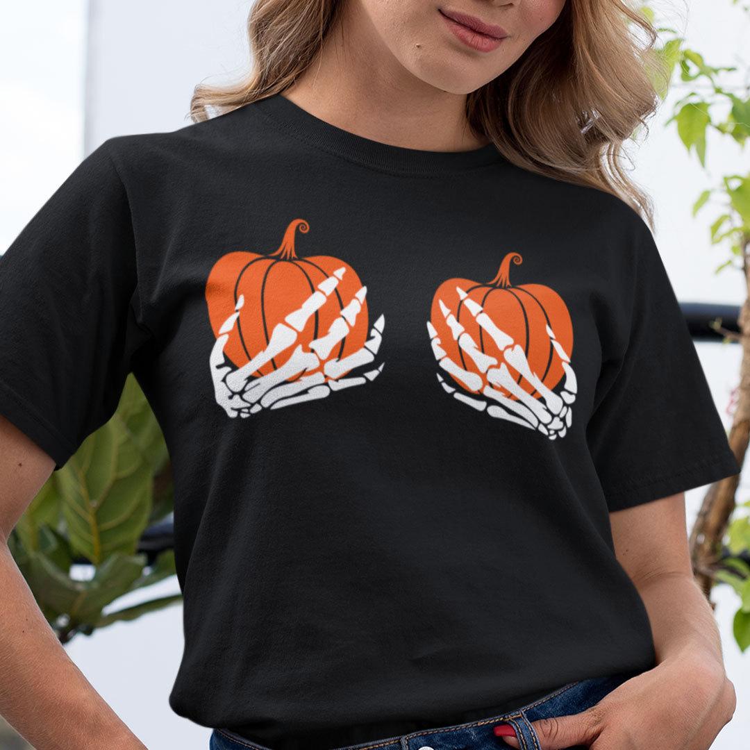 Halloween T Shirt Skeleton Hand Pumpkin