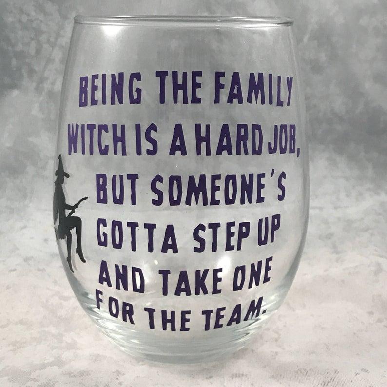 Halloween Wine Glass- best Halloween gift for grandma.