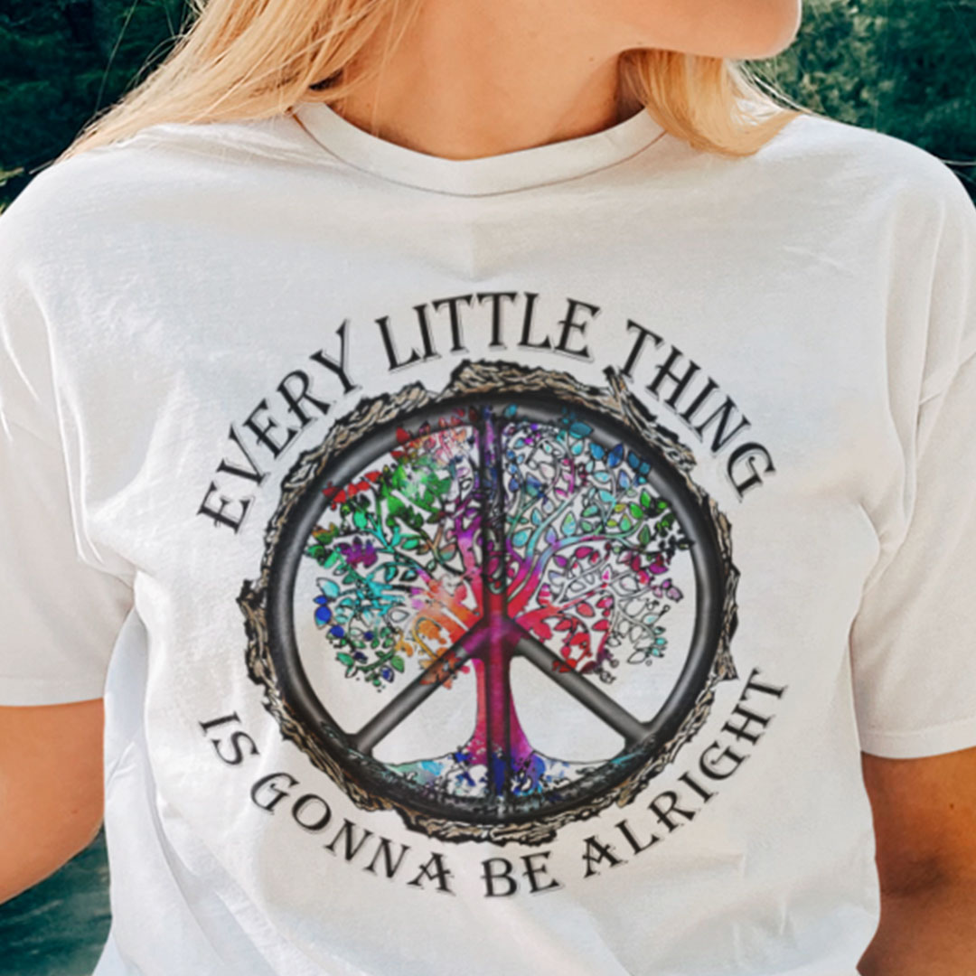 Hippie Tree Shirt Every Little Thing Is Gonna Be Alright